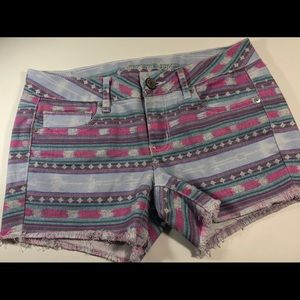 American Eagle southwest Aztec print frayed shorts
